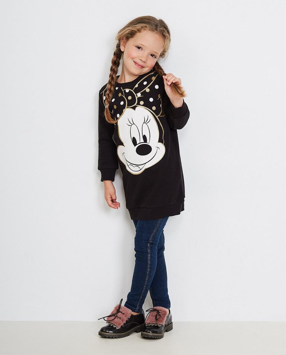 Schwarzes Sweatkleid - mit Glitzerprint, Minnie Mouse - Mickey